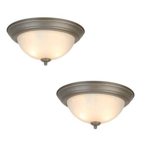 patriot lighting home depot commercial electric 2 light oil rubbed bronze flushmount