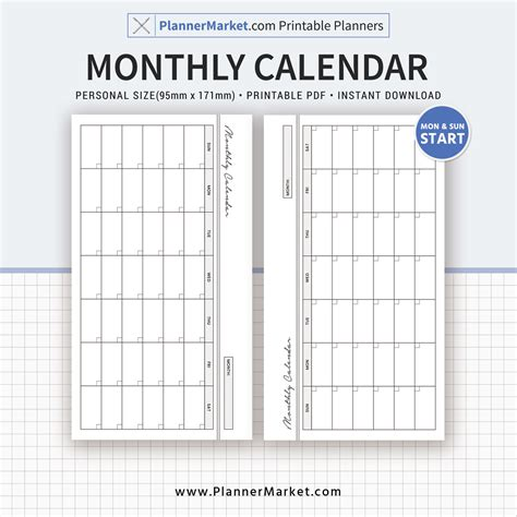 monthly calendar monthly planner planner inserts personal size