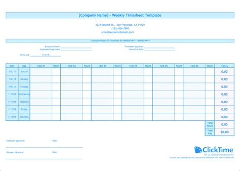 Weekly Timesheet Template Weekly Timesheet Template Free Excel Timesheets Clicktime