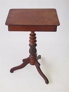 Antique, Mahogany, Tripod, Table, With, Drawer