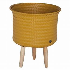 Cache Pot Sur Pied : cache pot sur pieds moyens moutarde handed by pomme ~ Premium-room.com Idées de Décoration