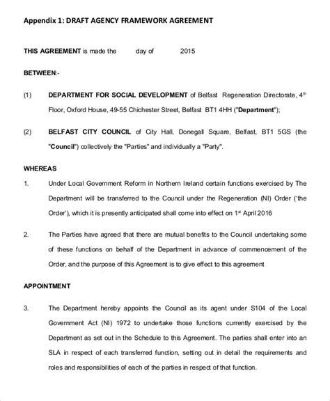 framework agreement templates  sample