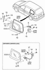 2003 Kia Sedona Quarter Glass Mechanisms
