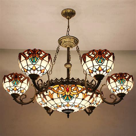 wall sconces with decorative 9 light stained glass shade style