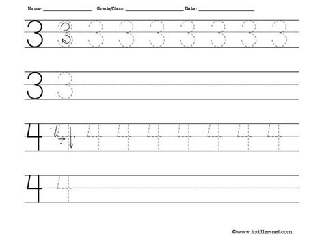 tracing worksheet numbers 3 and 4