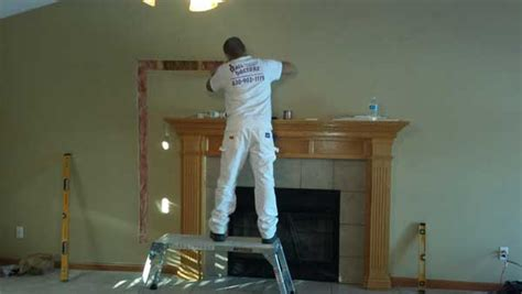 tv installation  fireplace sandwich il drywall