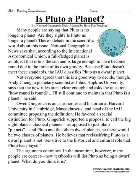 reading comprehension worksheet is pluto a planet