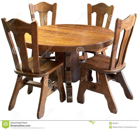 solid wood kitchen table set isolated royalty  stock