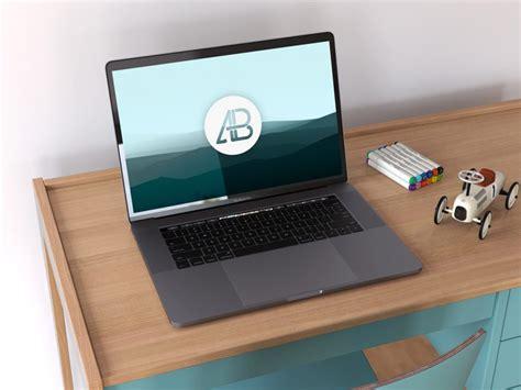 Space Gray Macbook Pro on Desk Mockup - Mockup Love