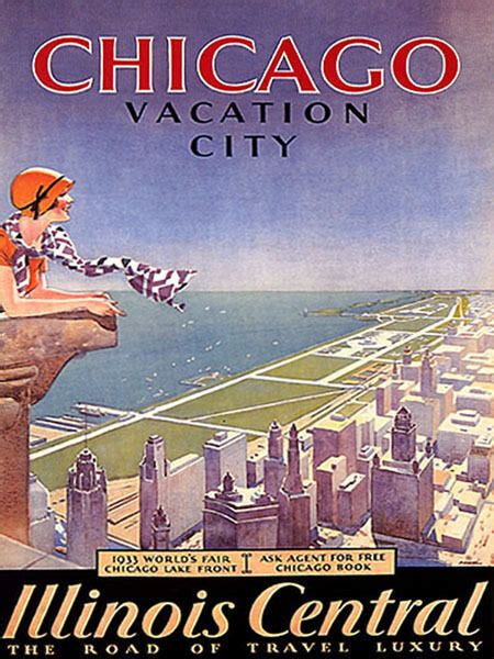 chicago vacation city lake front illinois central travel vintage poster repro ebay