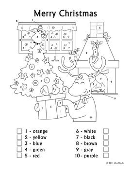 christmas fun color  number reindeer coloring page