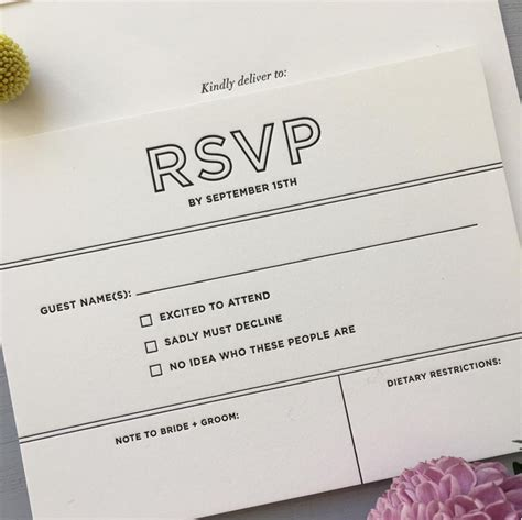 black letterpress rsvp card for a modern wedding at The