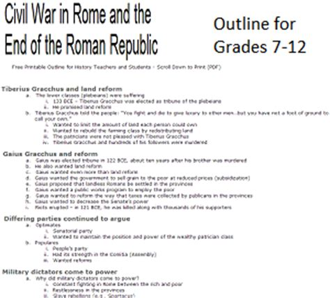 civil war in ancient rome free printable history outline