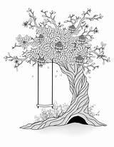 Tree Coloring Swing Spring Drawing Thaw Depositphotos Pagina Albero sketch template