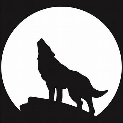 Wolf Silhouette Clipart Howling Moon Clip Stencil