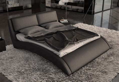 Modern Queen Bed Design With Brown Bed Platform And Tan