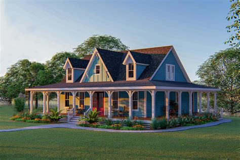 3-bed Country Home Plan With 3-sided Wraparound Porch