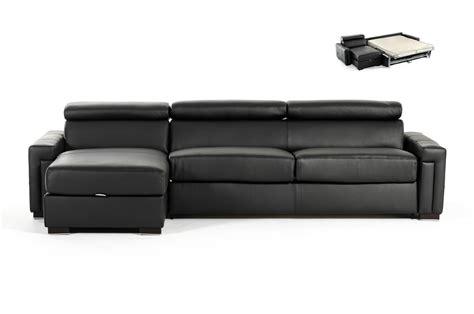Estro Salotti Sacha Modern Black Leather Reversible Sofa