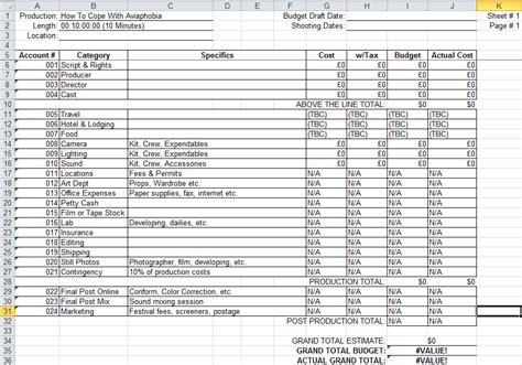factual programme production  tv budget sheet