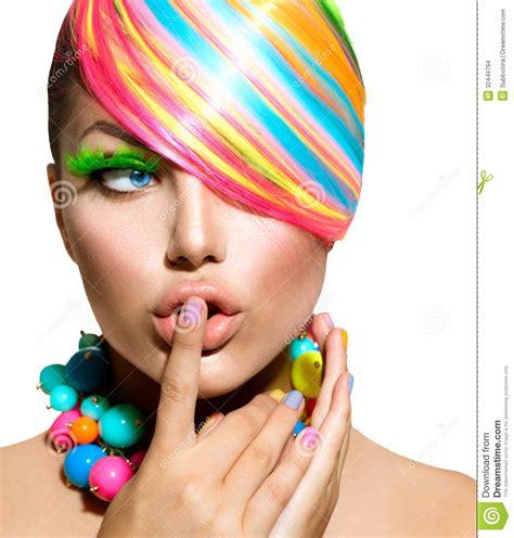 kleurrijke   haar en toebehoren stock foto