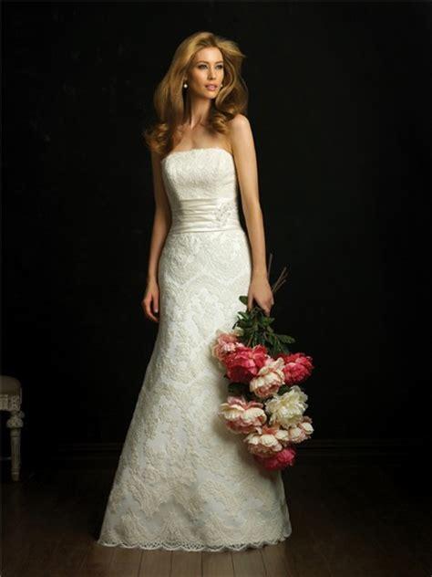 elegant simple   strapless lace wedding dress