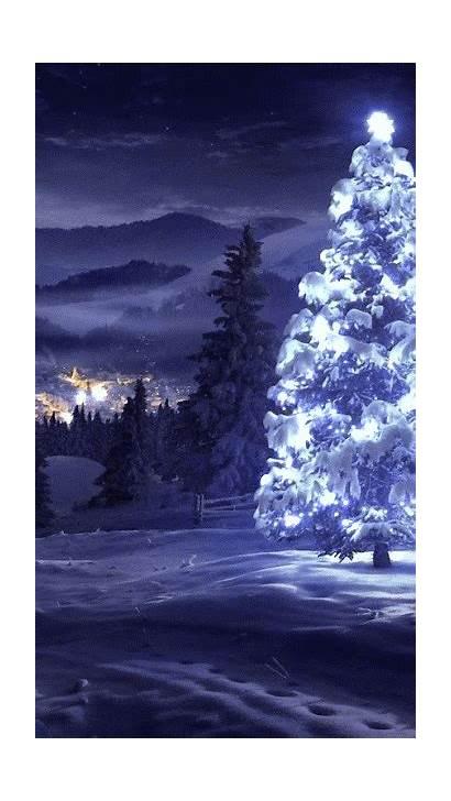 Christmas Tree Merry Snow Night Winter Trees
