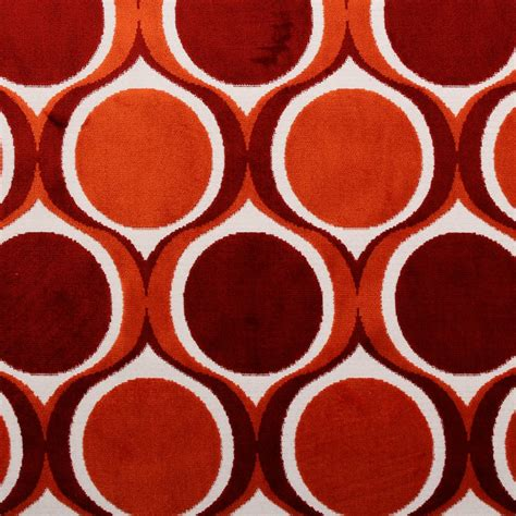 1950s Upholstery Fabric by Designer Dfs Cut Velvet Large Retro Vintage Circle Spots