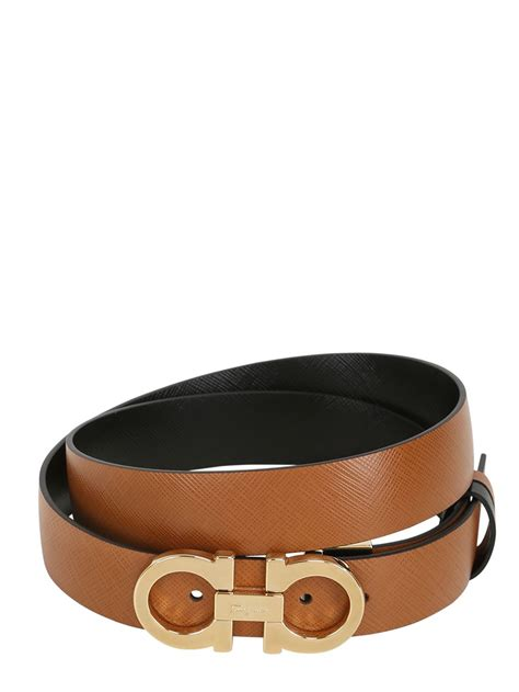 Ferragamo 25mm Saffiano Leather Reversible Belt in Brown ...