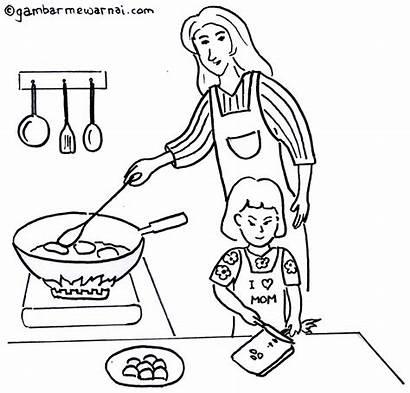 Gambar Ibu Memasak Membantu Mewarnai Untuk Kartun