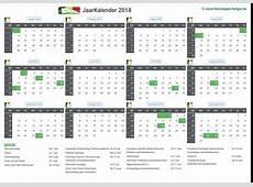 Maandkalender 2018 januari Belgie Verlengde Weekends