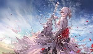 Hd, Wallpaper, Sword, Dress, Anime, White, Hair, Anime, Girls, Snow, White, Blue, Eyes
