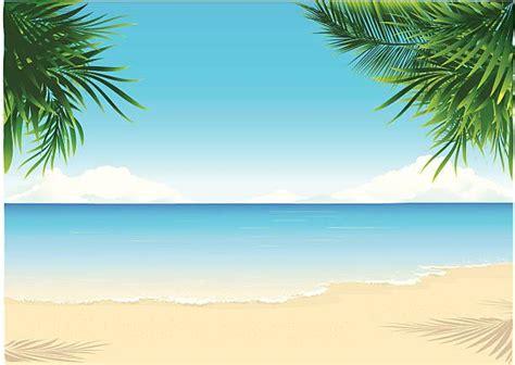 paradise beach vector art illustration  gambar