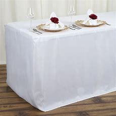 4 Feet Fitted Polyester Tablecloth Wedding Catering Party