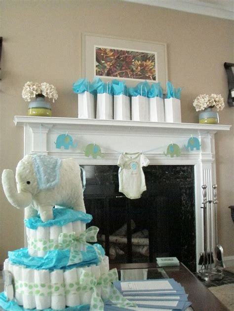 blue  green elephant baby shower decorations elephant