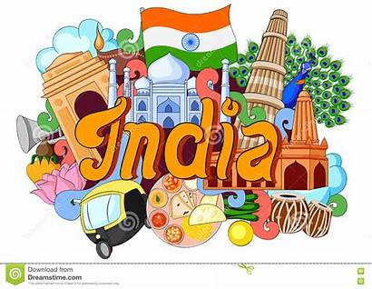 Culture India Doodle Architecture Showing Vector Illustration