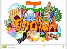 Doodle Showing Architecture And Culture Of India Cartoon