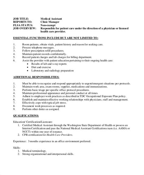 sample medical assistant job description  examples