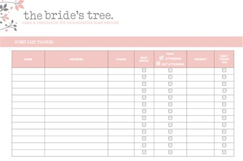 Rsvp List Template by 5 Free Wedding Invitation List Templates Excel Pdf Formats