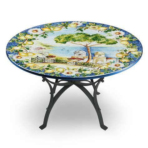 tavolo ferro battuto tavolo circolare decoro paesaggio base in ferro battuto