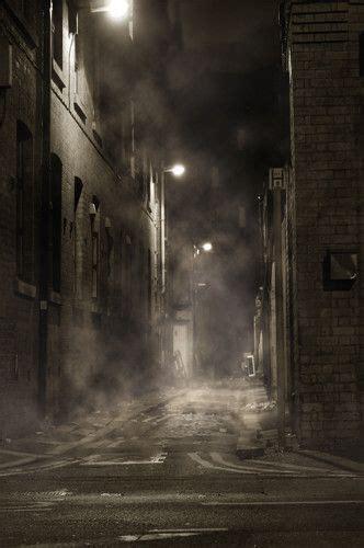 haunted creepy fog alley printed backdrop