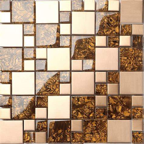 amber glass brushed copper effect stainless steel mosaic