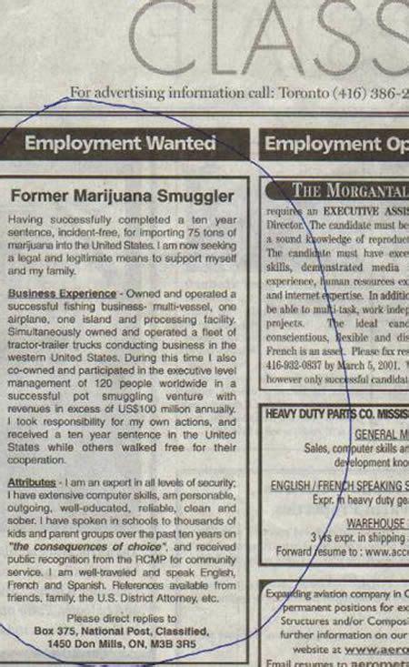 smuggler posts job wanted ad    lot  media