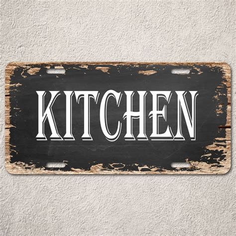 signs lp0214 kitchen sign rustic auto license plate bar Kitchen