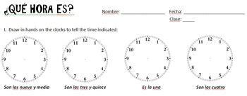 hora es practice  quiz spanish   spanish basics tpt