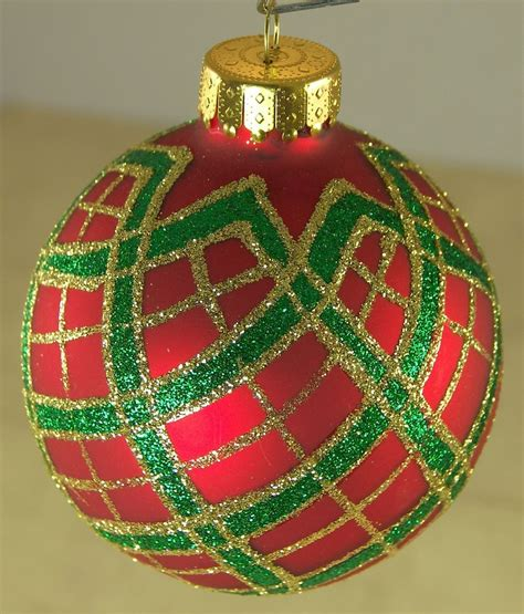 red green gold plaid christmas ornament marked ut glass 2