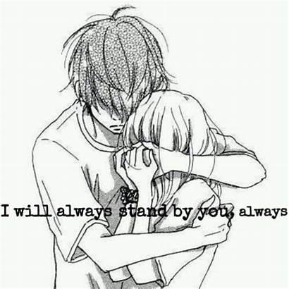 Anime Boy Hugging Sad Couple Drawing Hugs