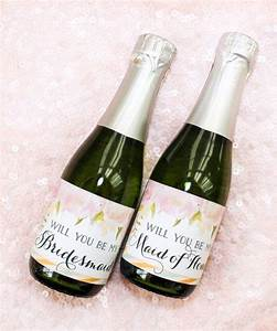 will you be my bridesmaid mini champagne bottle labels With diy mini champagne bottle labels