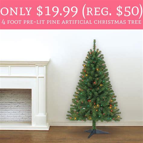11ft pre lit artificial christmas whoa only 19 99 regular 50 4 foot pre lit pine artificial tree deal