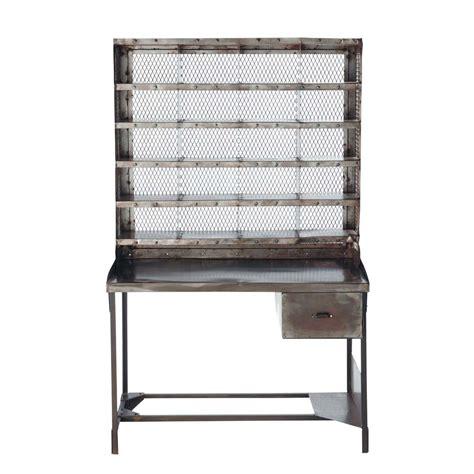 bureau secr aire meuble bureau secrétaire en métal effet vieilli l 110 cm