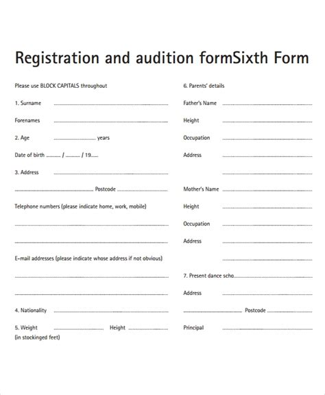sample audition forms   ms word